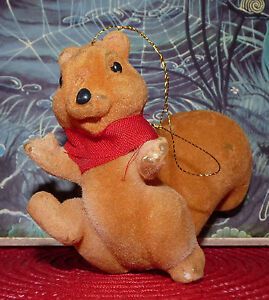 Scarce-Vintage-Christmas-Ornament-Squirrel-Collectible-Soft-Toys-Noel