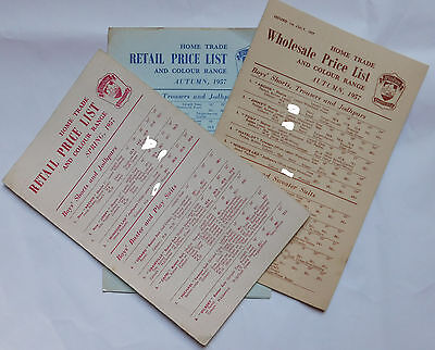 3 Vintage 1957 catalogue price lists Windsor Woollies 1950s childrens clothing d