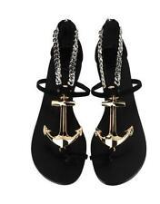 GIUSEPPE ZANOTTI Black Suede Gold Anchor Toe-Ring Flat Sandal Shoe 40 NIB