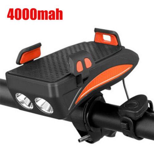 4 IN1 Fahrradlampe Fahrrad Licht LED Scheinwerfer Speaker Phone Bracket Holder E