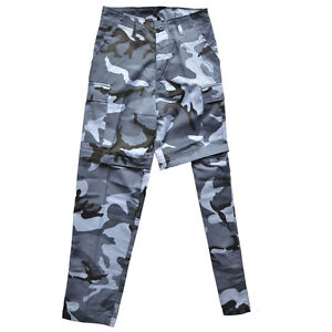 Sky Blue Camo Zip Off BDU Trousers - Military Army Pants Shorts Mens ... 0685ed9dc67