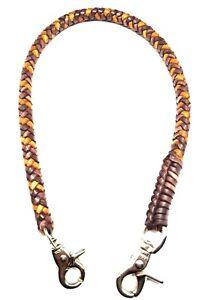 Biker-brown-tan-braided-chain-2-tone-leather-Heavy-Duty-Trucker-style-wallets