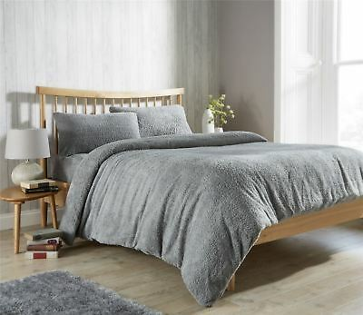 Luxury Teddy Fleece Duvet Covers Cosy Warm Soft Quilt Bedding Set Single Double