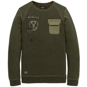 PME Legend Sweat Manche Longue Encolure en R Doub PTS195554 Olive M L XL