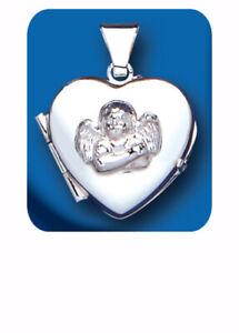 Angel-Guardian-Corazon-Medallon-Plata-925-longitudes-de-cadena-Hallmark-todos