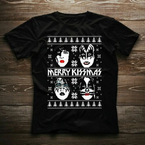 Kiss Rock Band Merry Kissmas Christmas T-shirt Fan Lovely Nice Xmas Gift Tee