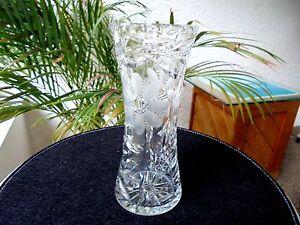 "Clear Crystal American Cut Centerpiece Vase 8"" Tall Flower Design"