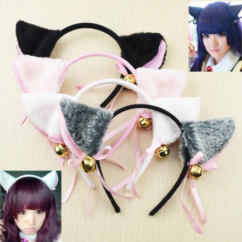 Cat Ears Fox Ears Costume Cosplay Anime Neko Long Fur Headband Bells Accessories
