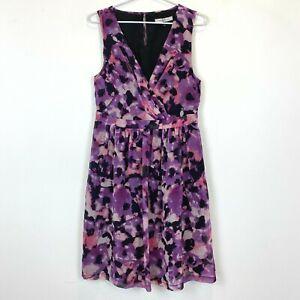 Nicola-Finetti-Womens-Purple-Black-Sleeveless-Lined-Dress-Size-12