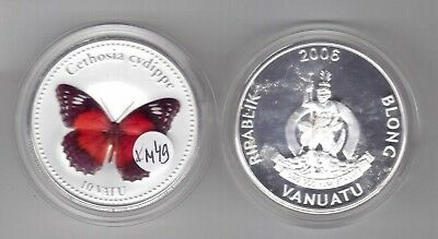 Aggressive Vanuatu Silver Platted Unc 10 Vatu Coin 2006 Year Km#49 Butterfly Cethosia Cydip Coins & Paper Money