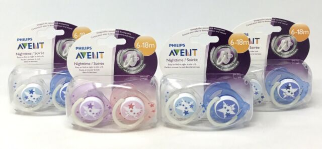 6-18m, # 9 6-18m 2 Pack Baby Soother Dummy Pacifier Nipple Philips Avent Night Time 0-6m