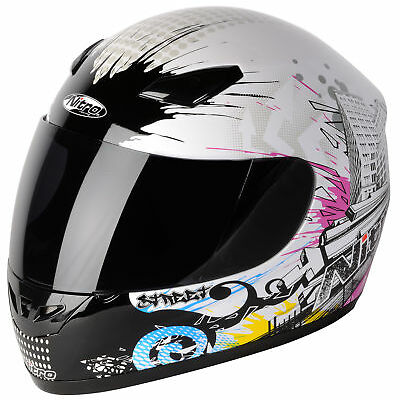 Nitro Street Full Face Motorbike Helmet Pinlock Ready White Purple Black XS