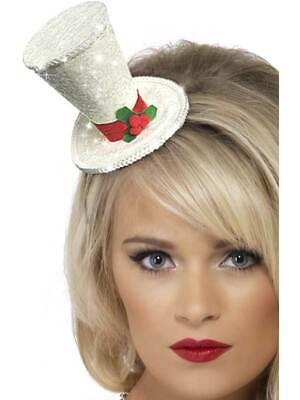 100% Vero Bianco Natale Top Hat Fascia, Bianco, Natale Fancy Dress-mostra Il Titolo Originale
