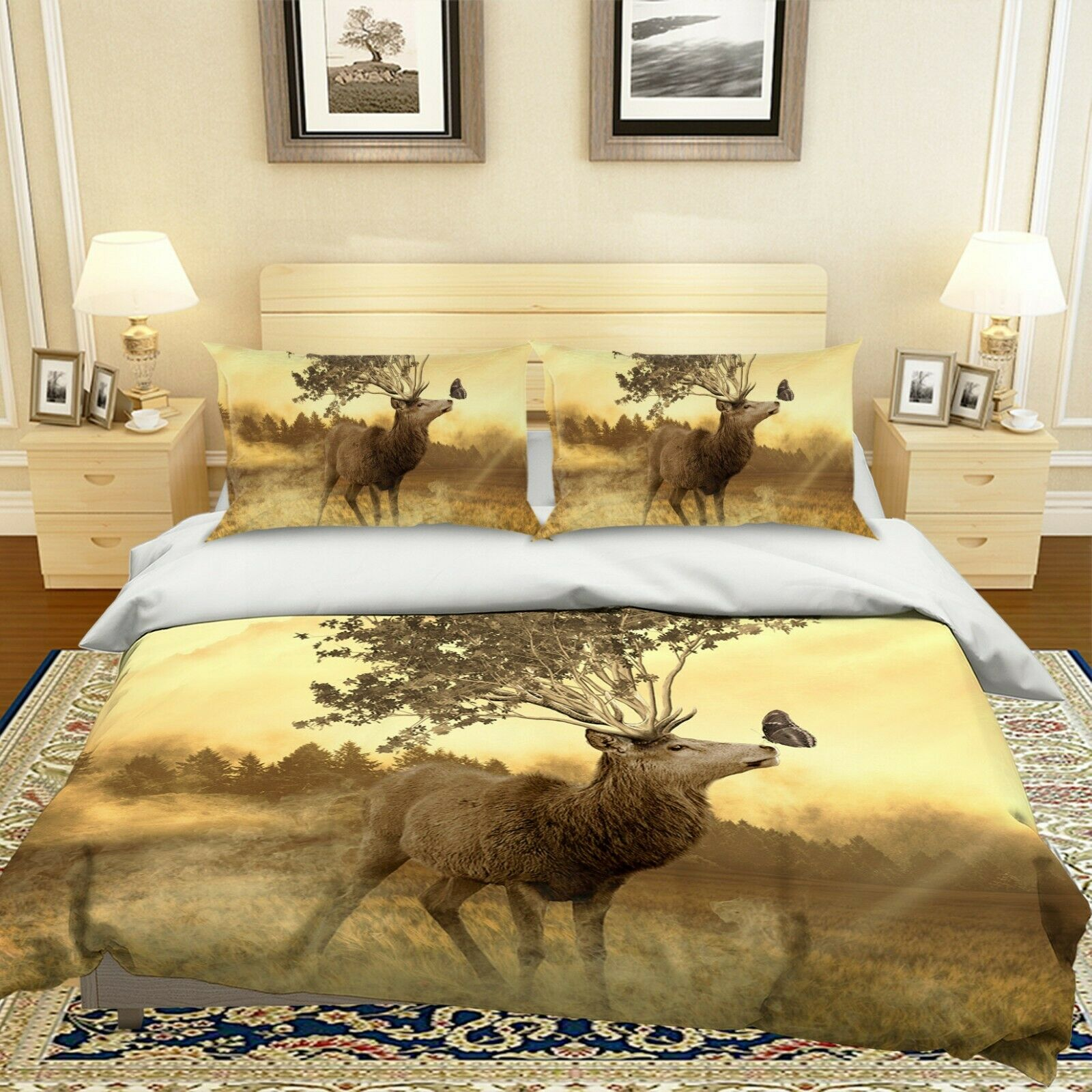 3D Elk Butterfly O56 Animal Bed Pillowcases Quilt Duvet Cover Set Queen King Amy