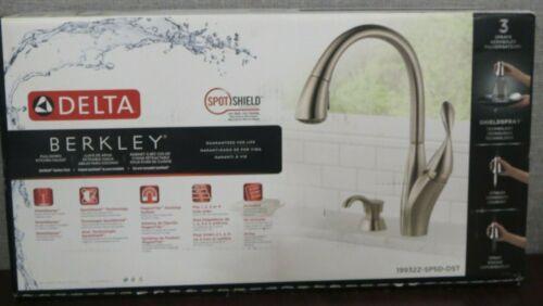 Delta Berkley Kitchen Faucet Single Handle w// Soap Dispenser Stainless Steel NEW