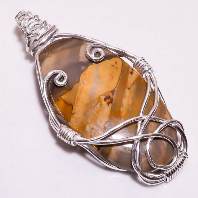 925 Sterling Silver Wire Wrapped Pendant Brecciated Mookaite Women Jewelry CP298