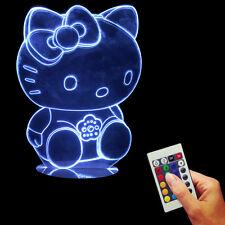 Hello Kitty Lighted Acrylic On Handmade Wood Mood 3D Multi-colored Desk Light