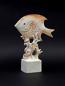 Antiques Decorative Arts Porcelain Figure Aquarium Fish Bisque Red Wagner & Apel 7x24cm 9942577