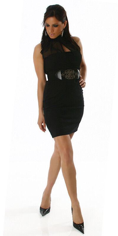 SEXY abito VESTITO black business woman effetto 2 pezzi maxi CINTURA tag. S GLAM