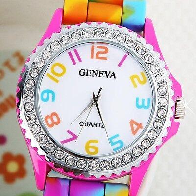 Women Girls Rainbow Crystal Rhinestone Watch Silicone Jelly Sports Wrist Watch