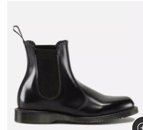Uk Women's Boots Flora Dr Smooth Leather Polished Martens Black 6 Chelsea 6qxwRzBU