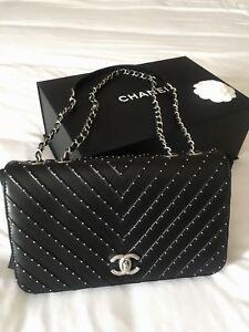 3aae0061e32d Chanel Chevron Stud Flap Bag - Lambskin - Black w Silver Hardware ...