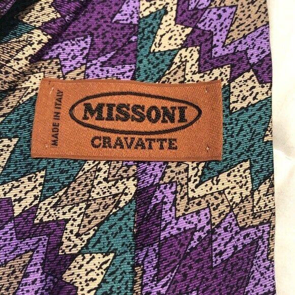 Missoni Vintage Cravatte Silk Tie Abstract 80s or… - image 4