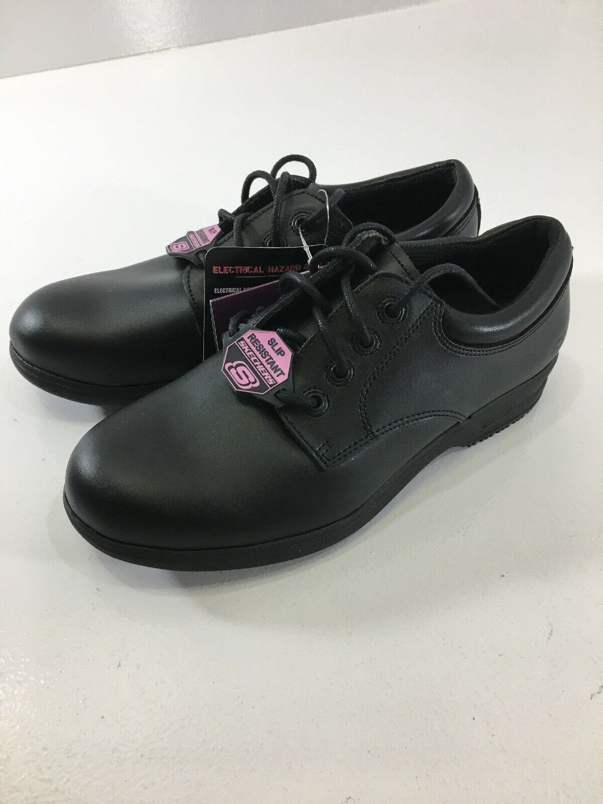 Skechers Womens Caviar II Slip Resistant Casual Work Oxford shoes Black 5.5 NWT@