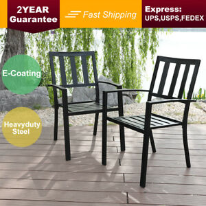 PHI-VILLA-Outdoor-Patio-Steel-Slat-Seat-Dining-Arm-Chairs-Set-of-2-for-Garden