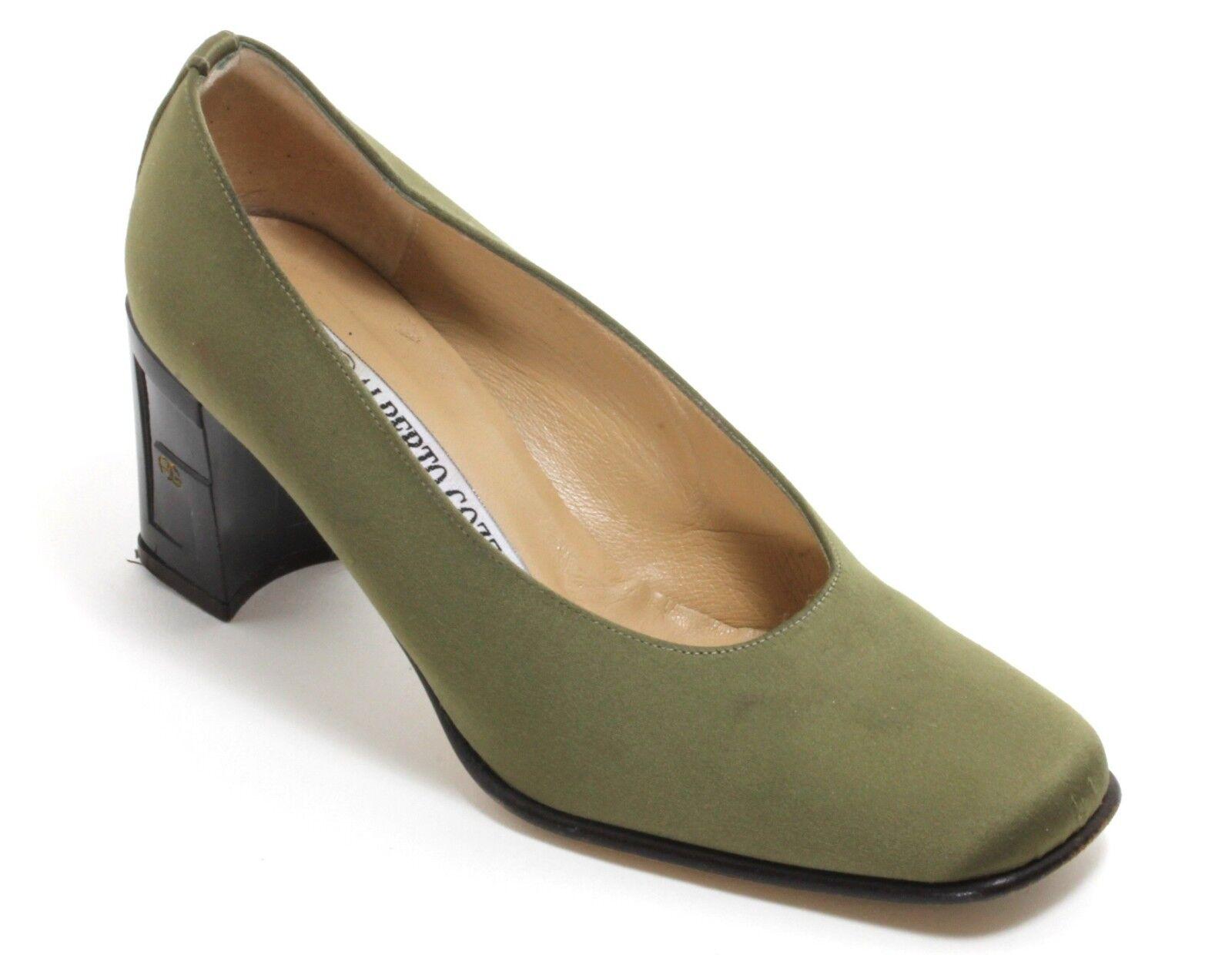 Elegant Grün Vintage Pumps Damenschuhe Leder Lack Samt Grün Elegant Alberto Gozzi 35,5 3ec12d