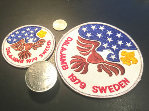 % 1979 DALAJAMB WORLD JAMBOREE BSA CONTINGENT POCKET & JACKET PATCH & NC SLIDE