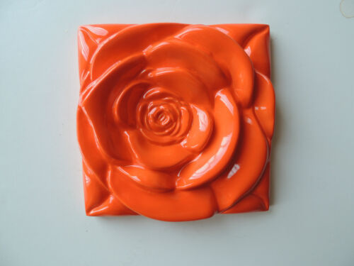 Home Decor Wall art Orange Tile Rose Tile Arts /& Craft
