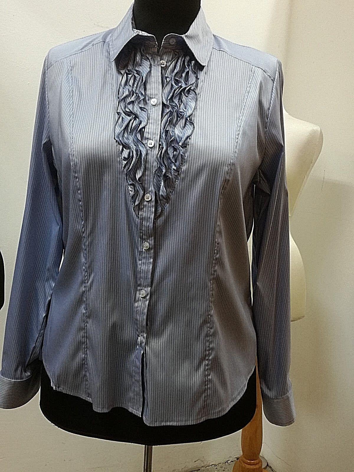 Blause-Langarm-Damen, Viktoria Fashion, Gr. 44, Rüschen, feiner Glanz, Streifen