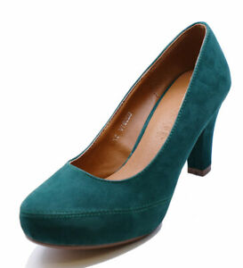 LADIES-GREEN-LOW-HEEL-SMART-WORK-SLIP-ON-CASUAL-COMFY-COURT-SHOES-SIZES-2-7