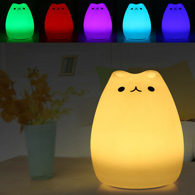 Color Changing Rechargeable Silicone Cat Night Light Baby Nursery Bedside Lamp