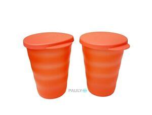 Tupperware-Junge-Welle-Becher-2-Trinkbecher-mit-Deckel-pastell-orange-330-ml