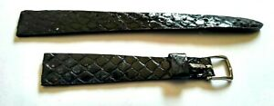 NOS-Genuine-Anaconda-Snake-vintage-11mm-7-16-034-R-Black-Watch-Band-From-1960s