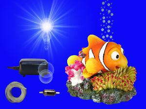 Aquarium Deko Beweglicher Nemo Luftpumpe Schlauch Dekoration Zubehor Ebay