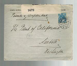 1916 Niederlande Gewerblicher Zensiert zu Seattle USA Bank Of California