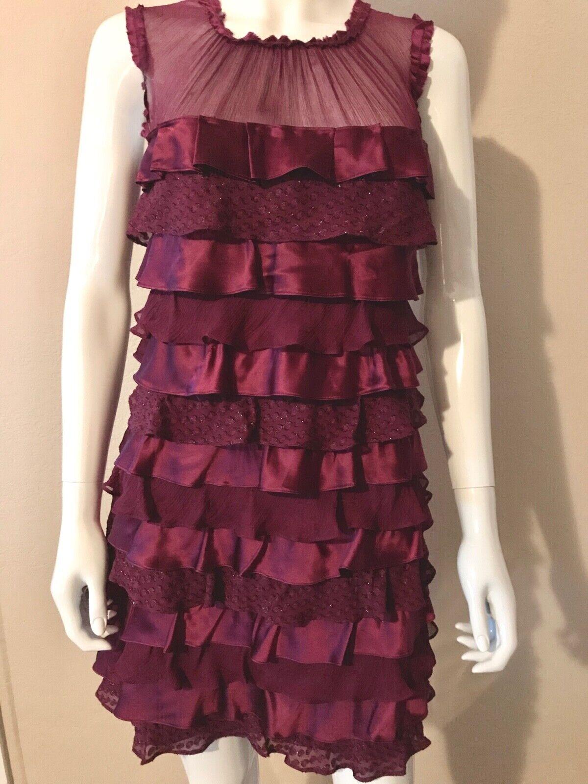 Hera Ruffle Magenta Pink Silk Dress Sz. XS