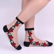 Lace Sexy Transparent Women's Short Socks Rose Pattern Elastic Beautiful
