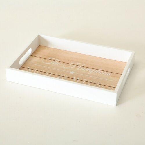 Tablett Dekotablett Holz weiß braun Holztablett Tischdeko Dekoration Hamptons