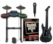 PS2 GUITAR HERO 5 Set Band Kit w/Guitar/Drums/Mic/Game playstation-2 sony GH5