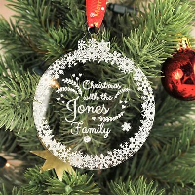 name tree decoration Personalised Christmas bauble ornament personalised Christmas gift Flamingo Family floating bauble