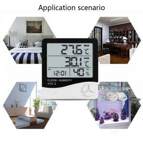 LCD Digital Thermometer Hygrometer Electronic Tester Meter Indoor Outdoor Clock