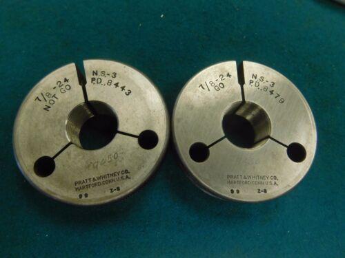 """Pratt /& Whitney USA Go No Go Thread Ring Gage Set 7//8/""""-24 NS"""