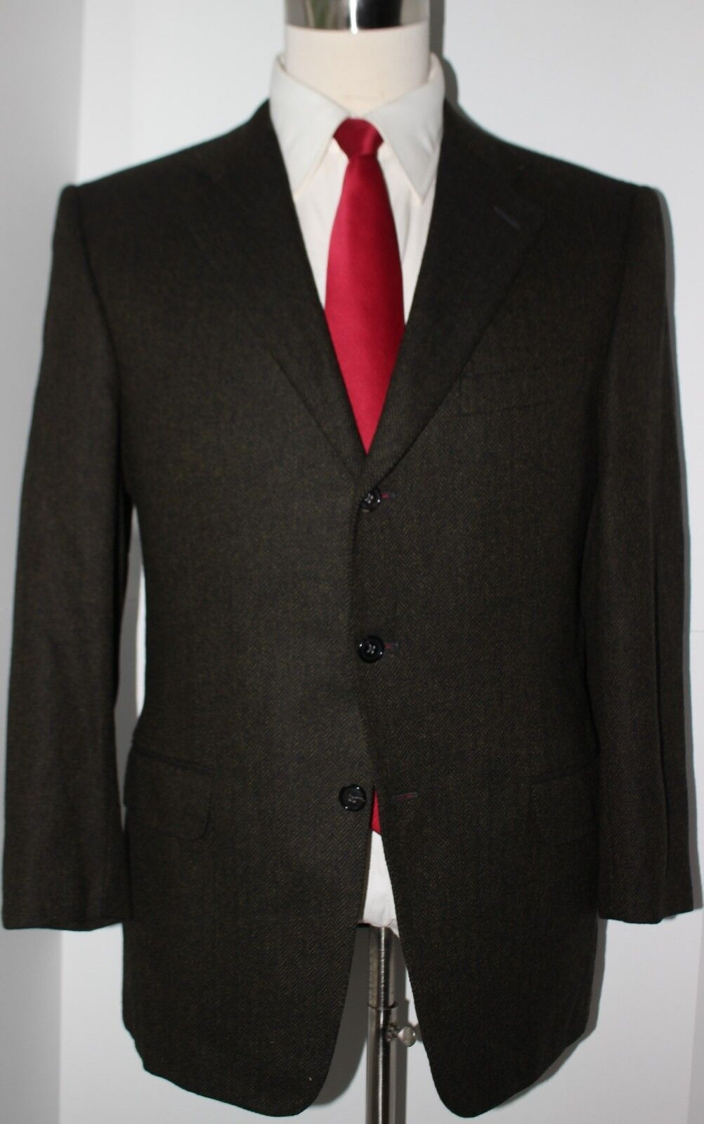 Zegna Pure Cashmere Grün Herringbone Three Button Side Vented Sport Coat 41 R