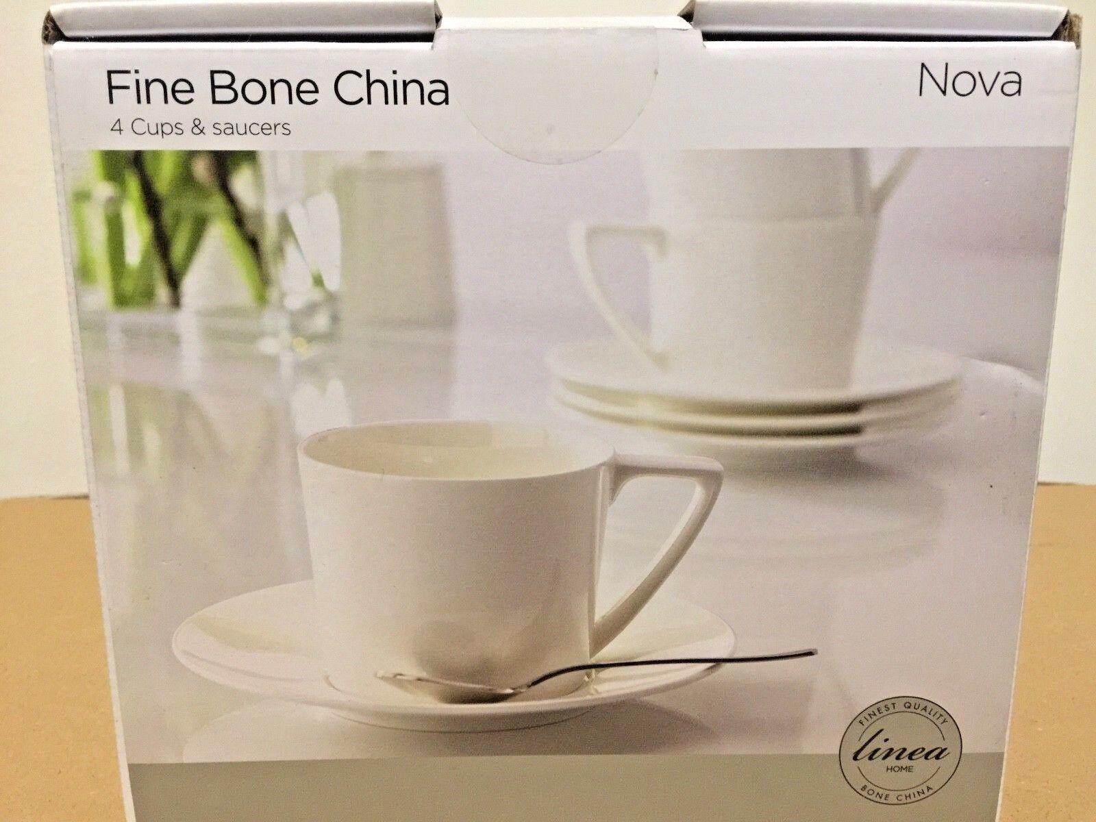 Fine porcellana cinese 4 TAZZE 4 piattini set NUOVO IN SCATOLA RRP  design moderno bianco