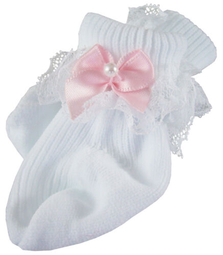 Lace Trim Socks w/ Pink Ribbon Bows for Bitty Baby Doll Clothes
