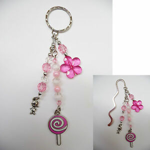 Beaded-Silver-Bookmark-OR-Handbag-Bag-Tag-Keyring-Dangle-Lollipop